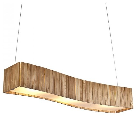 Large Wooden Shade Dining Room Island Pendant Lighting