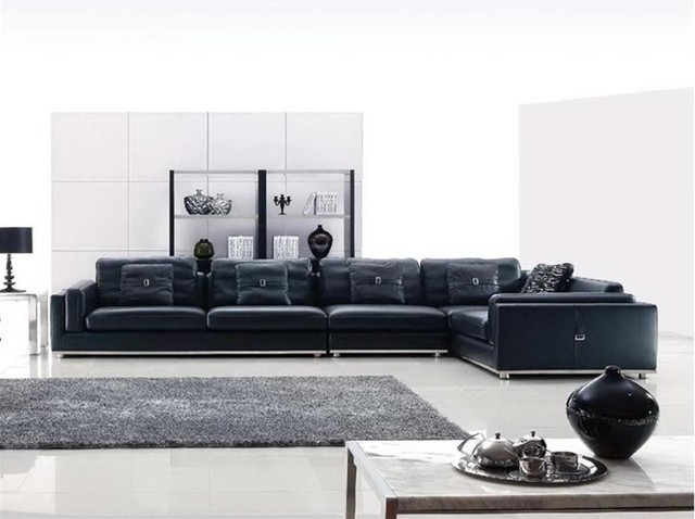 Large Sectional Sofa in Black Leather modern sectional sofas