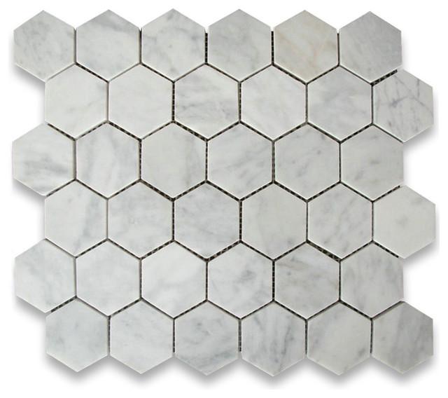 Carrara White 2 Inch Hexagon Mosaic Tile Honed Marble