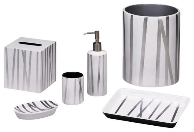 Grass styx white silver bath set contemporary bathroom for Silver bathroom accessories set