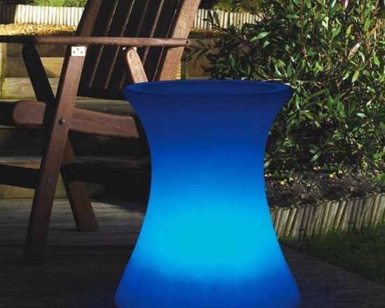 Illuminated Outdoor Side Table - Illuminated outdoor side table displays seven colors and is rechargeable.
