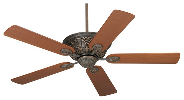 "Traditional 52"" Casa Contessa Copper Bronze Teak Blades Ceiling Fan traditional-ceiling-fans"