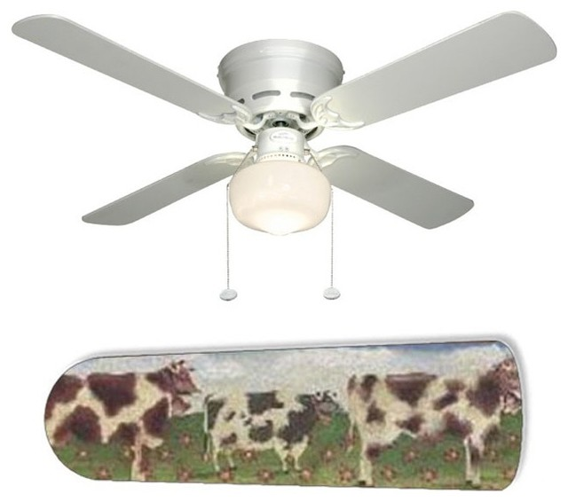 "Farm Kitchen Cows 42"" Ceiling Fan and Lamp Eclectic Ceiling Fans b"