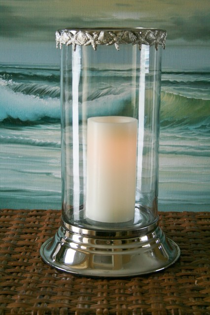 Seashell Hurricane Candle Holder tropical candles and candle holders