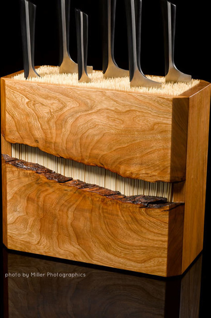 Cherry And Bamboo Knife Block Modern Knife Storage
