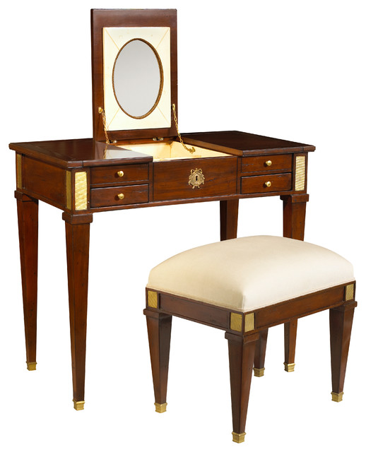 French Heritage Aubin Vanity And Stool Antique Cherry Traditional Bedroo