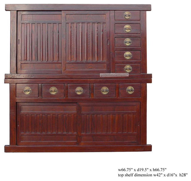 Large Japanese Two Layers Stack Tansu / Storage Cabinet asian-furniture