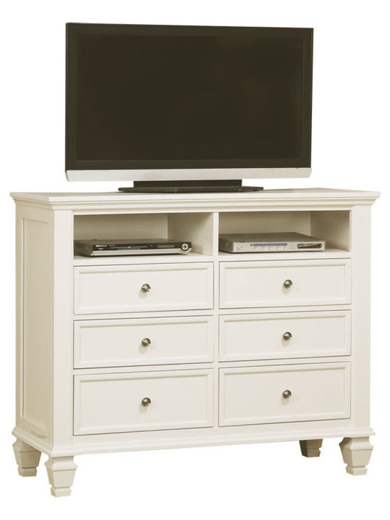 Sandy Beach TV Chest - This Sandy Beach master bedroom collection is crafted to perfection with clean, straight lines and inset frame detail, carved legs and molded edging. It is constructed of select hardwood solids and veneers and finished in bright white. The case pieces have multiple full extension drawers with dove tail construction and offer an abundance of storage. The dresser features discrete drawers behind glass cupboard doors and the nightstand features an extendable tray. Complete your room with the matching TV console that offers six additional drawers and two media compartments. Photo: Coaster Company