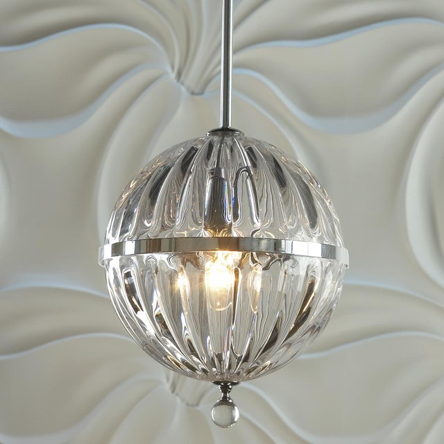 Fluted Glass Globe Pendant