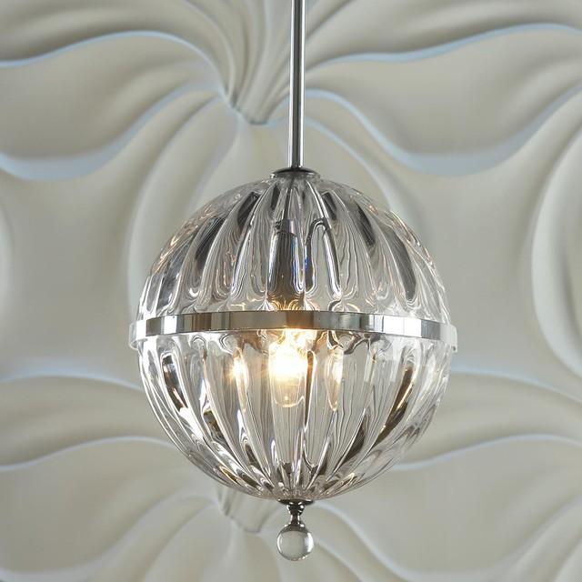 Fluted Glass Globe Pendant