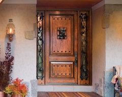 Jeld-Wen A1202 Fiberglass Entry Door with Sidelights Knotty Alder Woodgrain rustic-front-doors