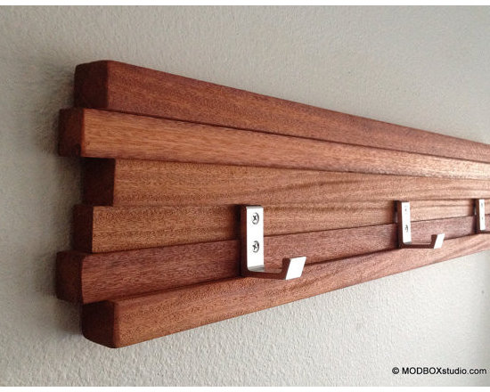 Coat Rack Five Hook Modern Key Hat Minimalist Wall Hanging By MODBOX - This is the perfect accessory to add to that modern entryway. Sleek, slim and oh-so-chic, this coat rack shapes-up a cluttered entry in a hurry. I could also see this used in a modern, spa-like master bathroom.