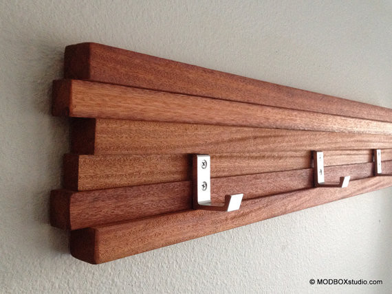 Coat Rack Five Hook Modern Key Hat Minimalist Wall Hanging By MODBOX modern hooks and hangers