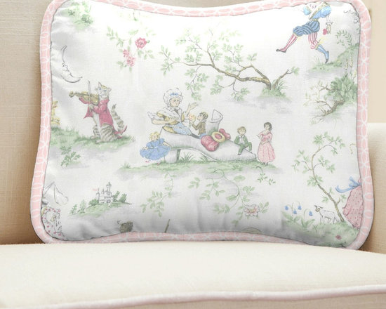 Pink Over the Moon Toile Decorative Pillow - All of your favorite nursery rhymes are featured on this timeless toile. From Humpty Dumpty to The Cow and the Moon, this wonderful toile pattern in soft pastel shades of pinks, greens, and blues is sure to create many wonderful memories in your little girls nursery. We have added incredibly lush minky fabric to this collection making it not only gorgeous but so unbelievably comfy!