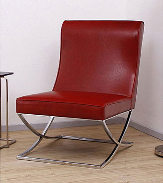 Milano Burnt Red Leather Lounger modern-armchairs-and-accent-chairs