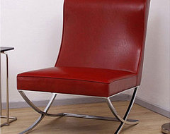 Milano Burnt Red Leather Lounger modern chairs