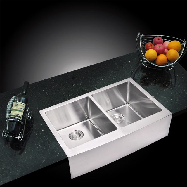Double Bowl Apron Front Sink : Creation 50/50 Double Bowl Stainless Steel Apron Front Kitchen Sink ...