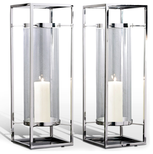 Stainless And Glass Decorative Square Candle Holders