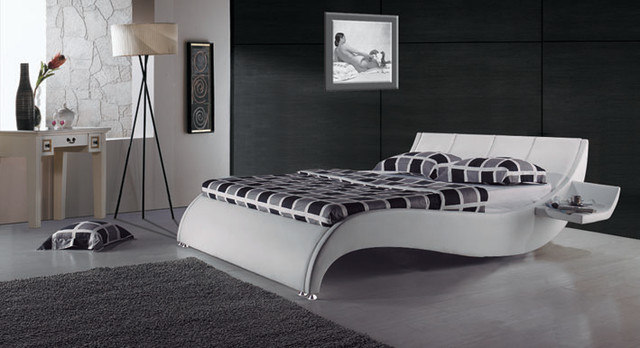 Yorkshire Modern Leather Bed Frame with Built in Side Tables contemporary-beds