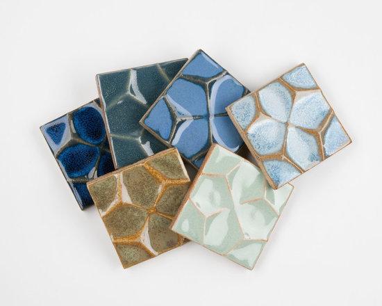 "Ceramic - ANN SACKS Nottingham 4"" x 4"" honeycomb ceramic field in blue mist, sage, cornflower, cobalt, blue marine and verdigris copper"