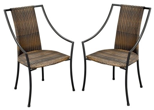 Laguna All-Weather Wicker Dining Chairs - Set of 2 contemporary-outdoor-chairs