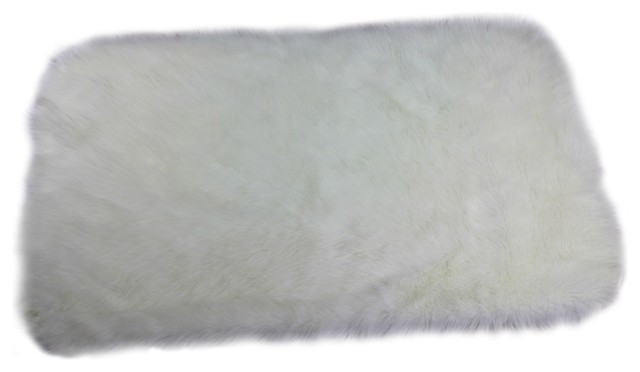 Faux Sheepskin Accent Rug, Rectangle Runner with Rounded Corners, Off White, 2x3 contemporary-rugs