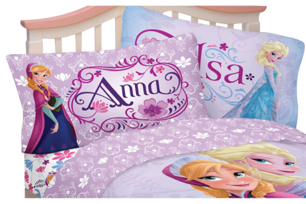 disney frozen bed sheet set elsa anna celebrate love bedding contemporain linge de lit et. Black Bedroom Furniture Sets. Home Design Ideas