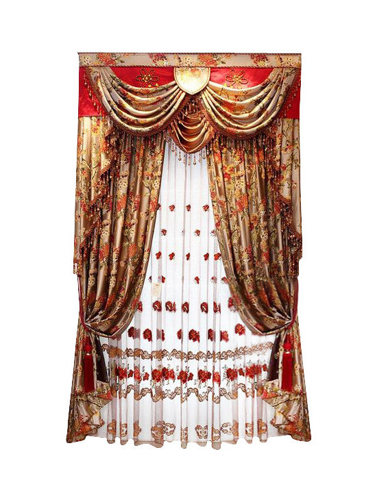 """Ulinkly.com - MYSTERIOUS SOUTHEAST(2-panels Drapery with Lining + Valance, each Panel 54""""/96"""") - Chenille"""