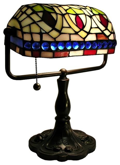 country cottage tiffany style bronze bankers desk lamp. Black Bedroom Furniture Sets. Home Design Ideas