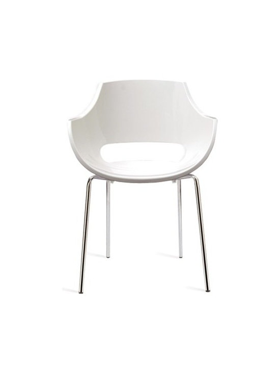 Papatya - Papatya | Opal Armchair, Set of 4 - Opal puts a finely sculpted, form fitting shell atop four sturdy chromed legs to complete a versatile armchair that is conveniently stackable and ready to bring together any room of the house with its clean modern presence. Opal's versatility expands with the choice of 5 color options and is also offered with a pedestal base.  Select from Solid White. Sold in sets of 4.