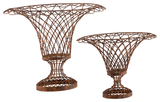 Set of 2 Wire Frame French Country Oval Vase Baskets transitional-outdoor-planters