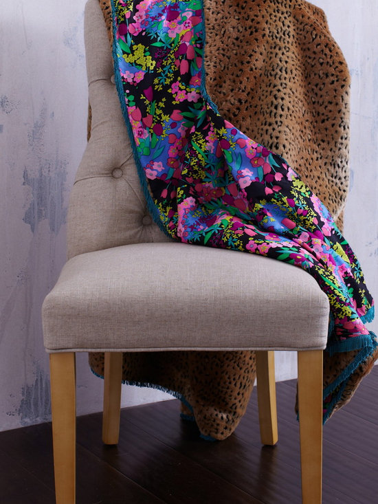 Bright Floral Vintage Throw with Leopard Faux Fur -