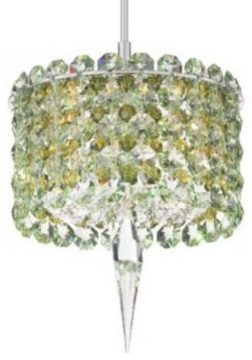 Matrix Cylindrical Pendant with Crystal Accent by Schonbek pendant-lighting