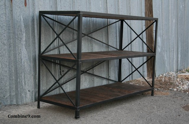 Vintage Industrial Shelving Unit. Steel/Reclaimed Wood. Mid Century/Industrial.