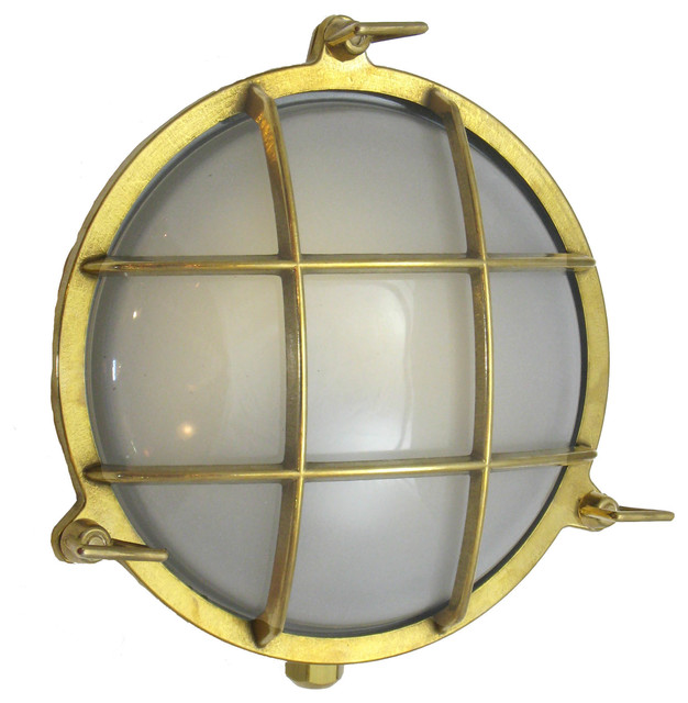 Round Interior Wall Lights : Round Cage Light (Solid Brass, Interior / Exterior by Shiplights), Unlacquered - Traditional ...