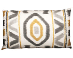 Yellow Ikat Pillow, 15x25 contemporary pillows