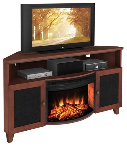 Furnitech 60 In Shaker Style Corner Tv Console With 25 In Electric Fireplace Contemporary