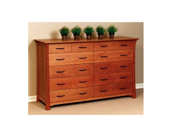 SHINTO 12 DRAWER DRESSER - East meets West with this Asian style arts and crafts solid hardwood bedroom collection.
