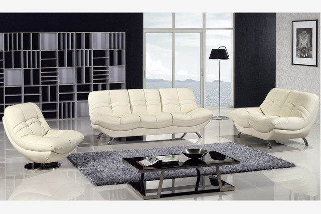 3 PC Modern Ivory Bonded Leather Couch Sofa Loveseat Swivel Chair Set contemporary-sofas