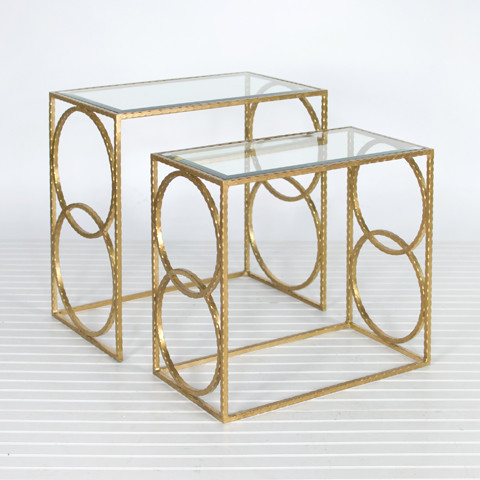 Lee Gold Leaf Nesting Tables modern side tables and accent tables