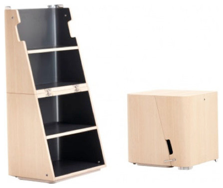 Light brown side table/stool that unfolds into a step ladder/bookcase