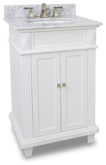 Small White Bathroom Vanity With Marble Top And Sink 24 Inches Wide Transitional