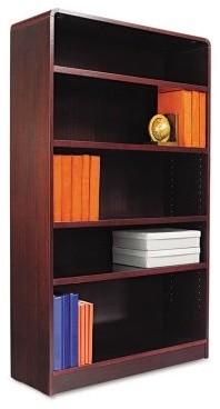 Alera BCR56036MY Aleradius Corner Wood Veneer Bookcase - Mahogany modern-storage-units-and-cabinets