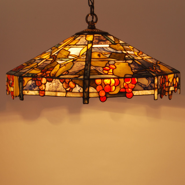 26-Inch Grape Vine Canopy Tiffany-Style Gemstone Pendant Ceiling Lamps traditional-pendant-lighting