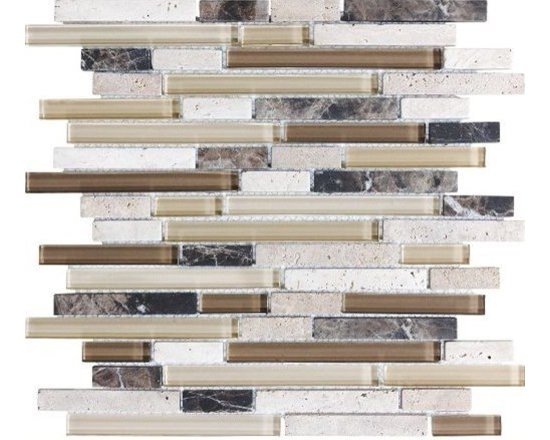 F13 Espresso Linear Glass Stone Blend Mosaics - • Length: 12""