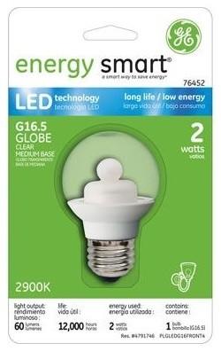 GE Energy Smart 10W Replacement (2W) Globe G16.5 LED Bulb (Warm, Clear) led-bulbs