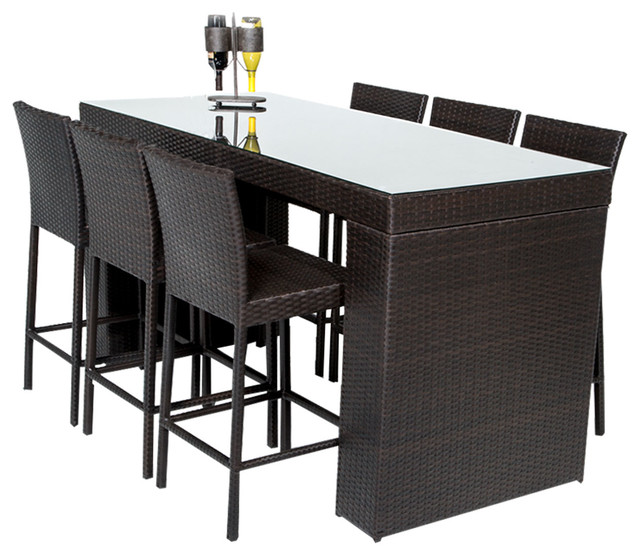Bar Table Set With Barstools 7 Piece Outdoor Wicker Patio Furniture Tropical Outdoor Pub And