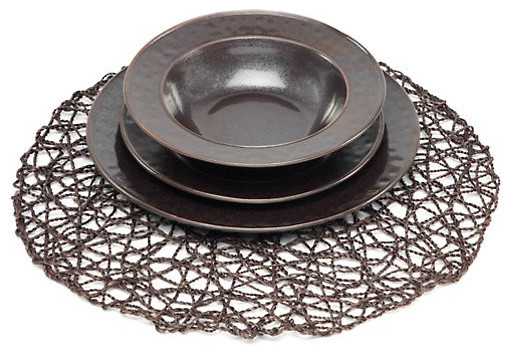 Twisted Twine Placemats, Chocolate modern table linens