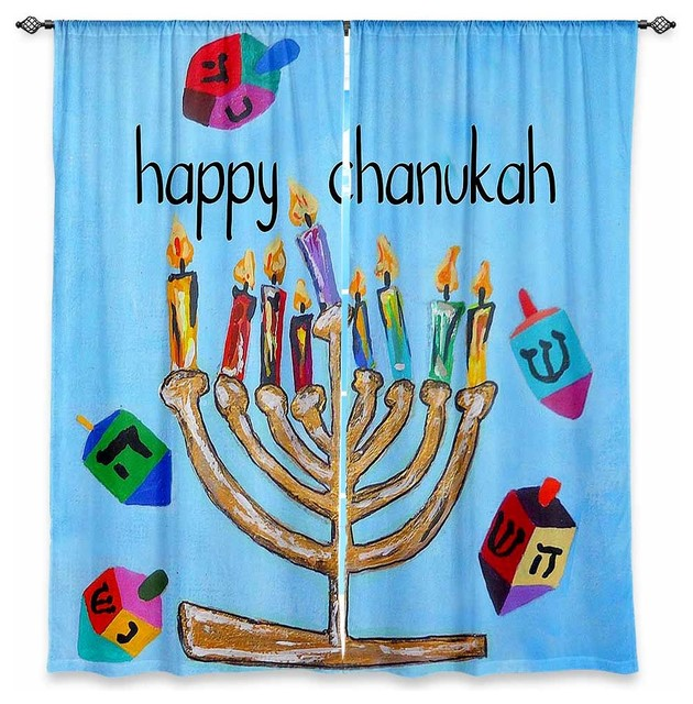 Window Curtains Unlined - Jackie Phillips Happy Chanukah contemporary-curtains