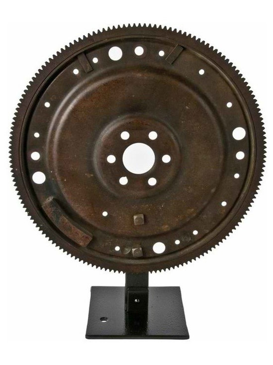 Rustic Flywheel on Display Stand - Vintage rustic flywheel mounted on reclaimed iron stand.